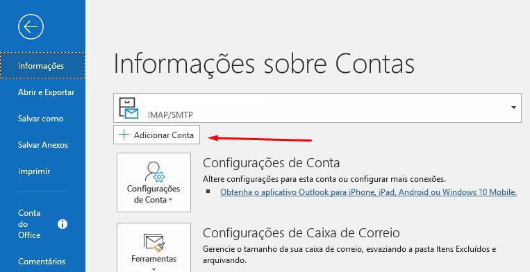 Como configurar conta de e-mail no Outlook?